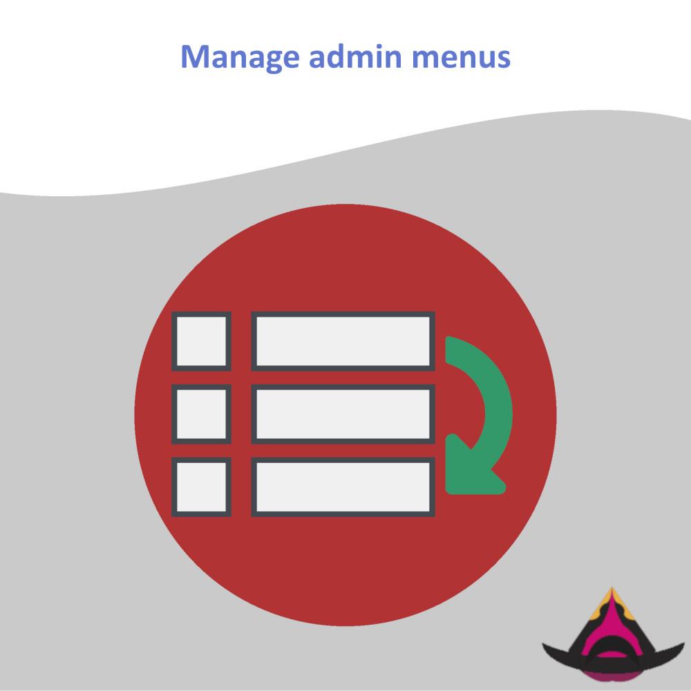 module - Menü - Manage the layout of the admin menus - 1