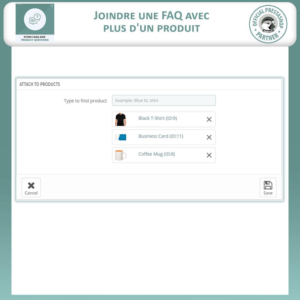 module - FAQ (questions fréquentes) - Questions fréquentes + Questions sur les produits - 12