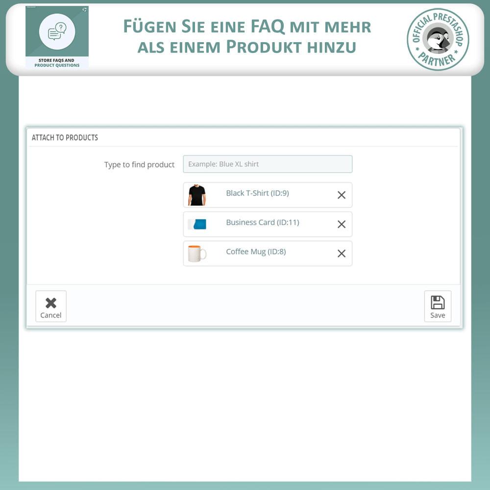 module - FAQ (Häufig gestellte Fragen) - FAQs + Produkt Fragen + Geschäft FAQs und Produkt FAQs - 12