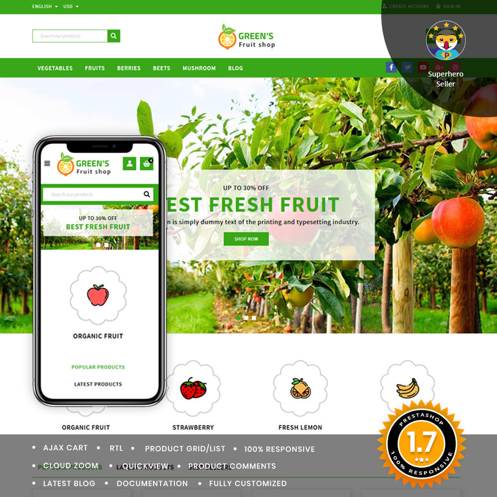 theme - Food & Restaurant - Green Vegetable & Fruits Shop - 1