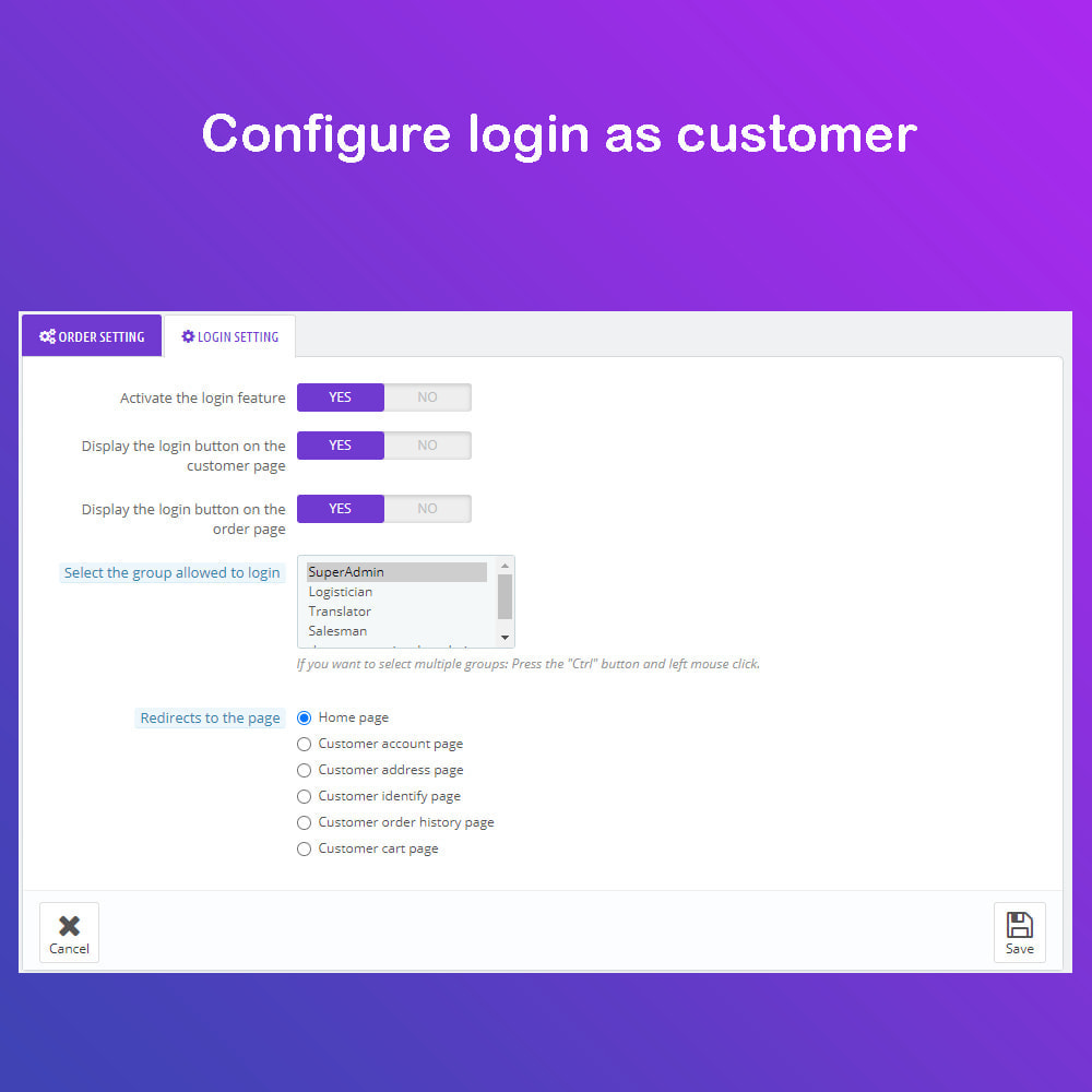 module - Przyciski do logowania  & Connect - 1 Click - Delete Orders / Admin Login as Customer - 2