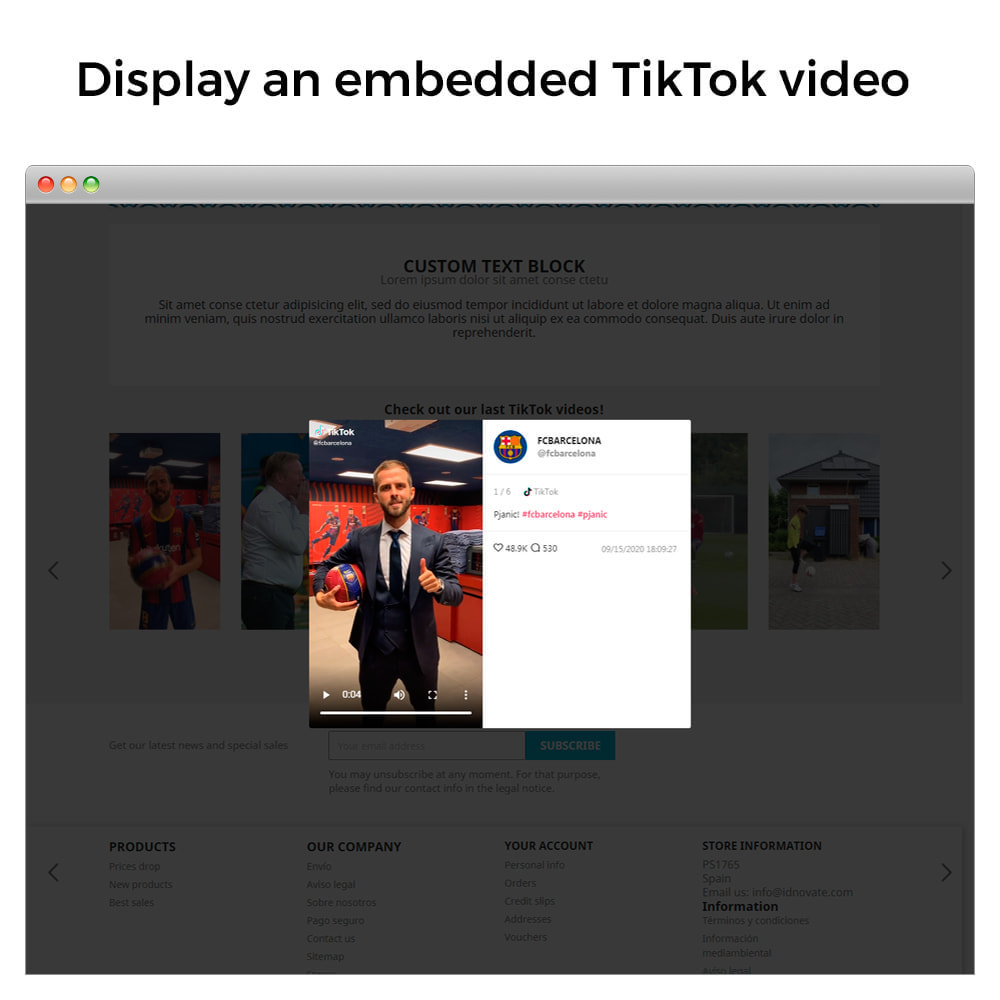 module - Social Widgets - TikTok Feed Slider - Insert Videos On Your Store - 3