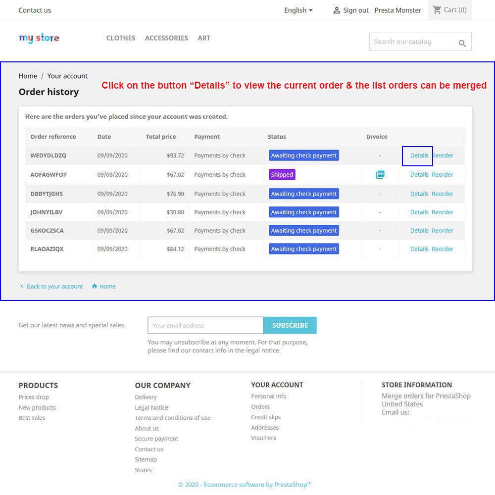 module - Inscription & Processus de commande - Merge Orders Pro - 8