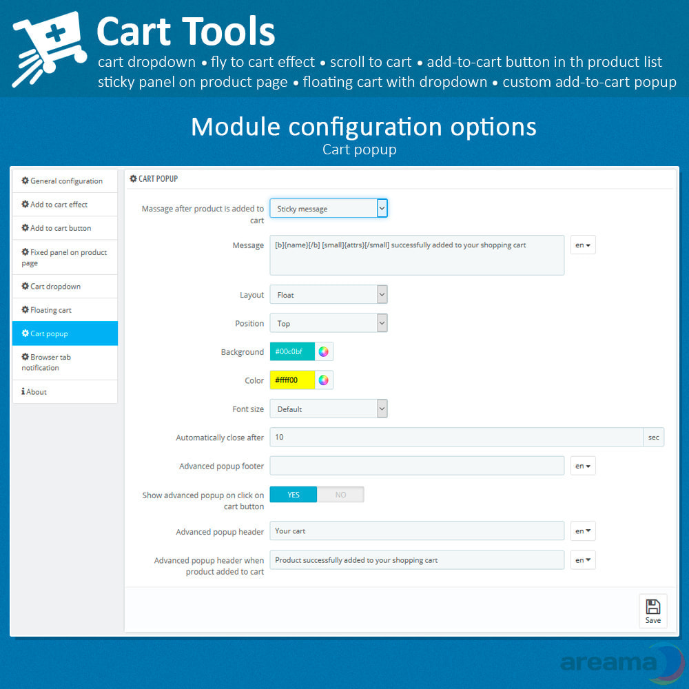 module - Pop-up - Cart Tools - cart dropdown, fly to cart, cart popup... - 18