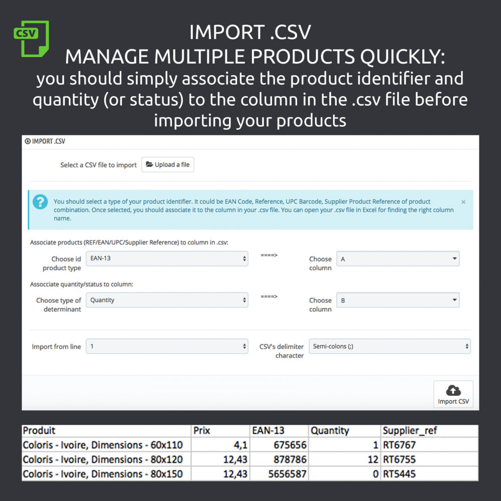 module - Combinations & Product Customization - Enable / Disable a Combination, Import .csv - 6
