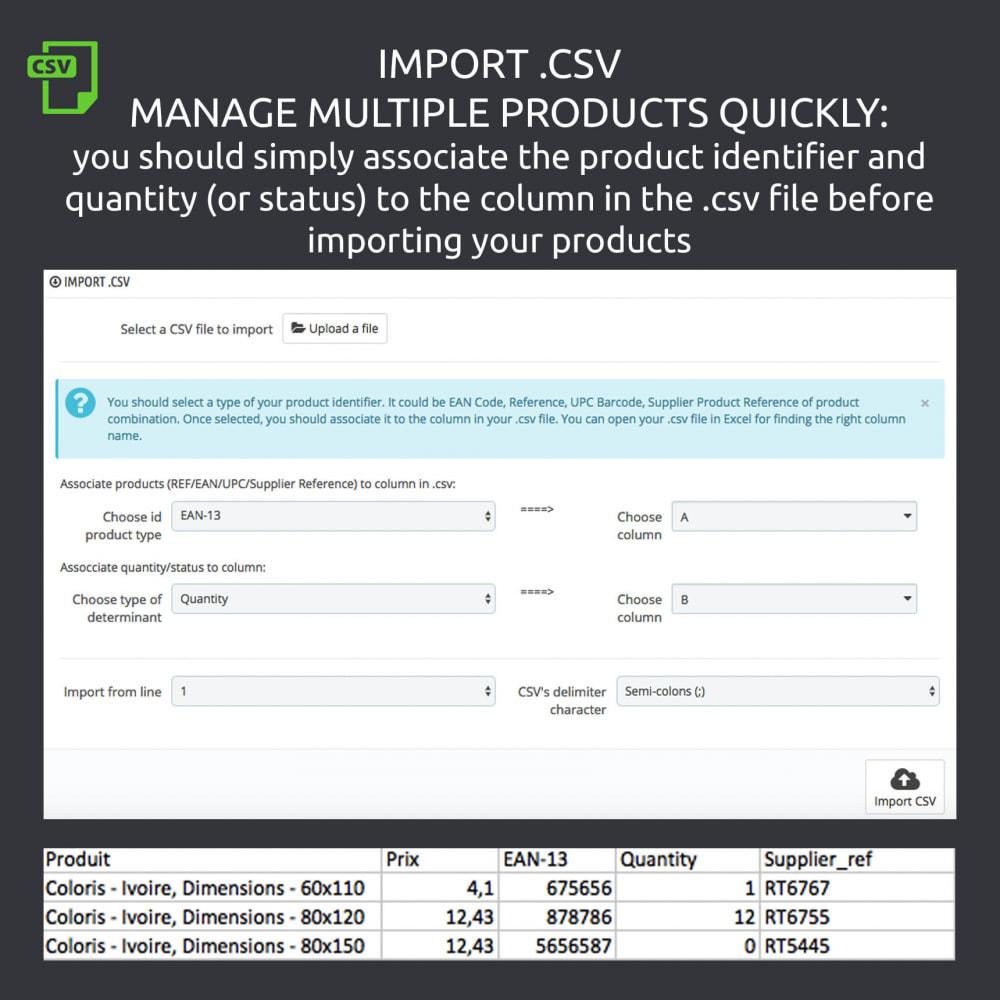 module - Вариаций и персонализации товаров - Enable / Disable a Combination, Import .csv - 6