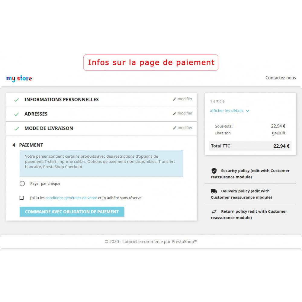 module - Autres moyens de paiement - Restriction des modes de paiement par produit - 6