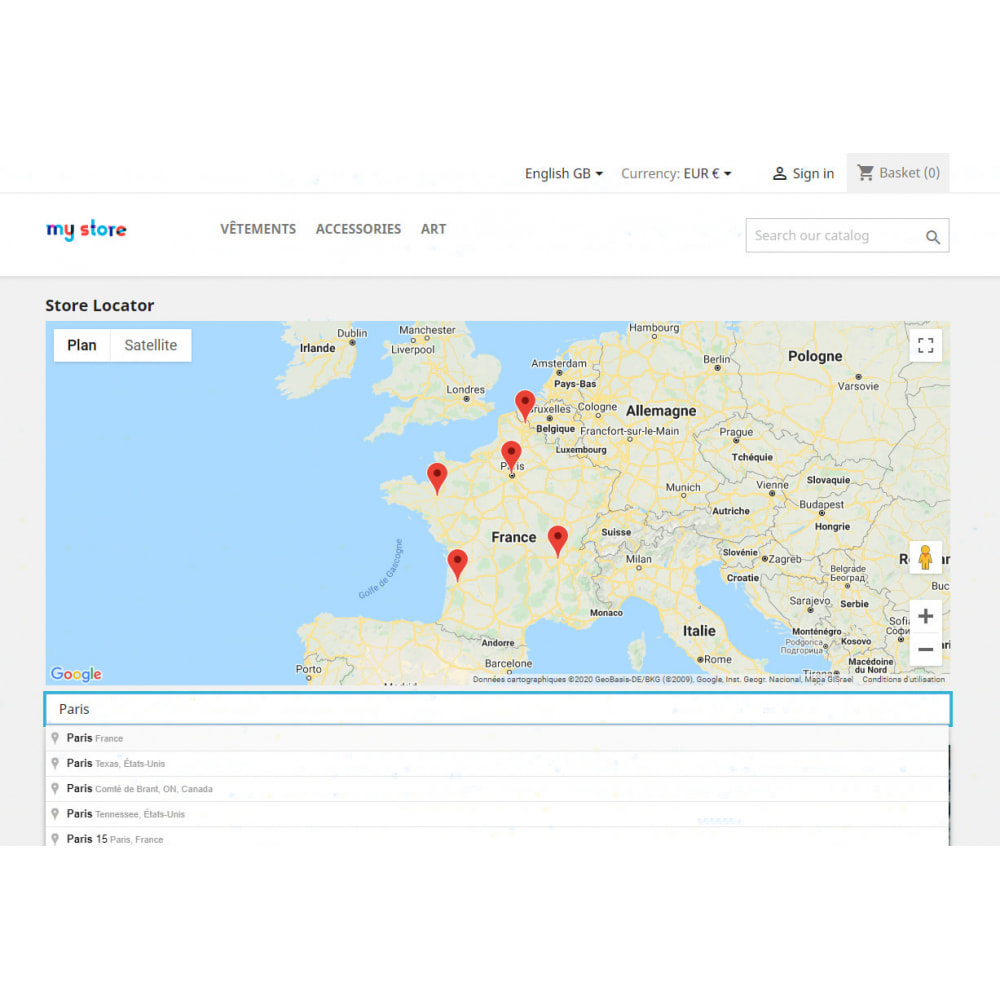 module - Internacional & Localização - Stores locator with Google Maps - 1
