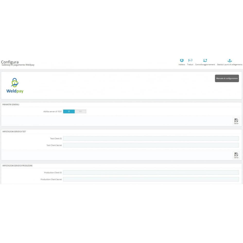 module - Pagamento con Carta di Credito o Wallet - Gateway di pagamento WeldPay - 3