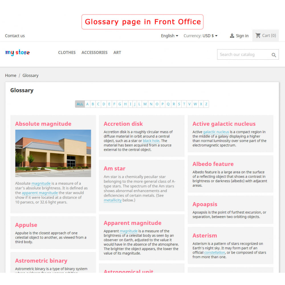 module - Page Customization - Super Glossary - 1