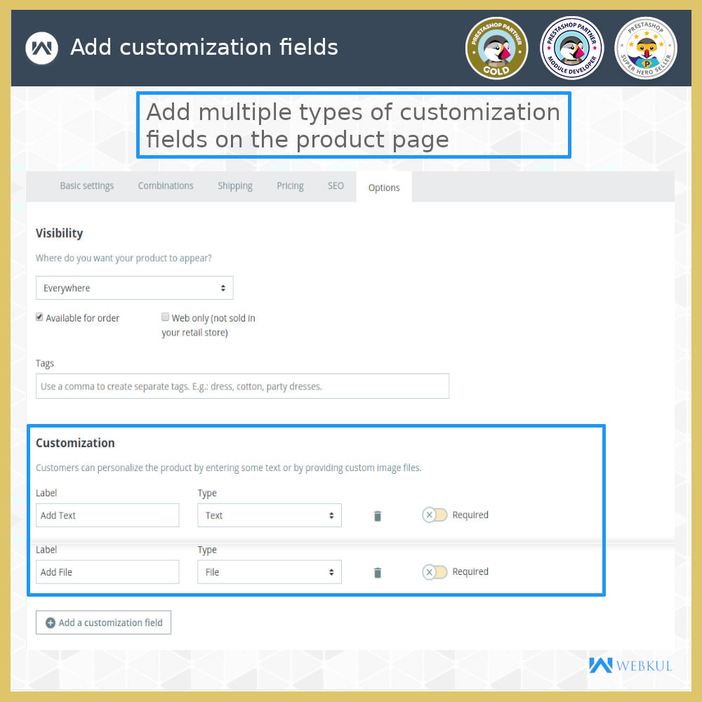 module - Registration & Ordering Process - Add Product with Customization Directly into Cart - 9