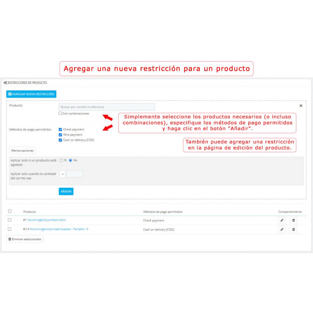 module - Otros métodos de pago - Limitación de métodos de pago de productos y categorías - 3