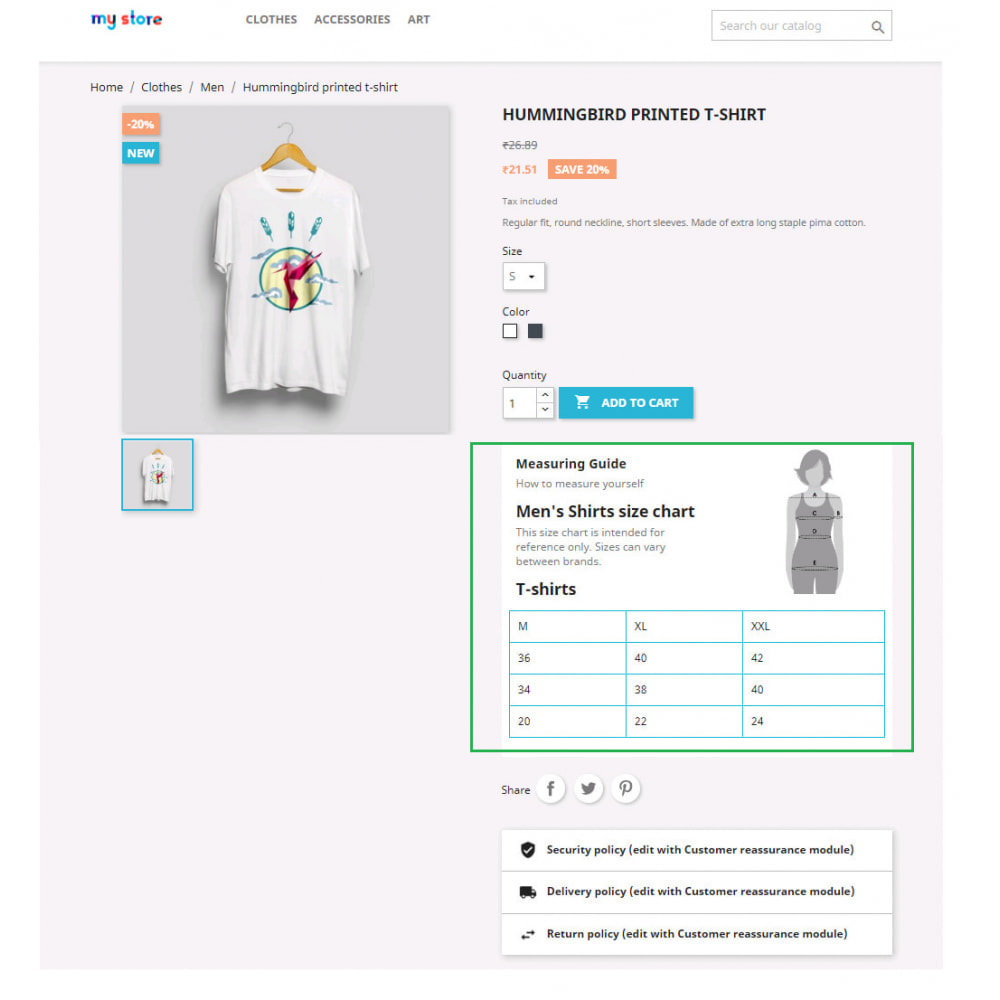 module - Additional Information & Product Tab - Custom Size Chart - 22