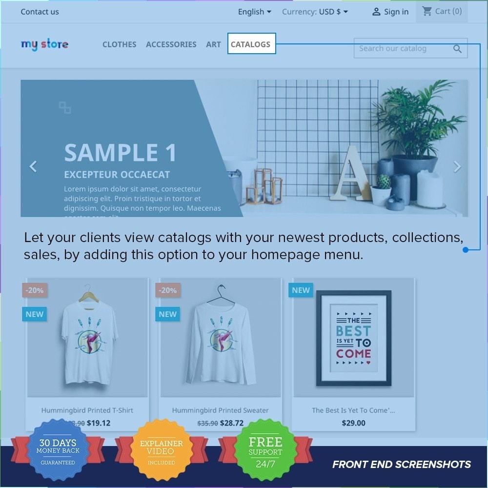module - Informaciones adicionales y Pestañas - Catálogo PDF en la página del producto - 1