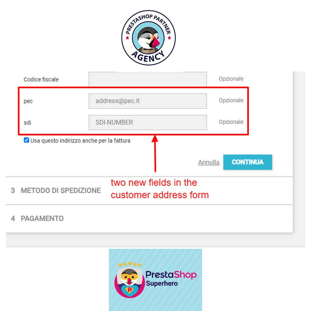 module - Payment by Invoice - Add PEC and SDI fields in the customer address form - 1