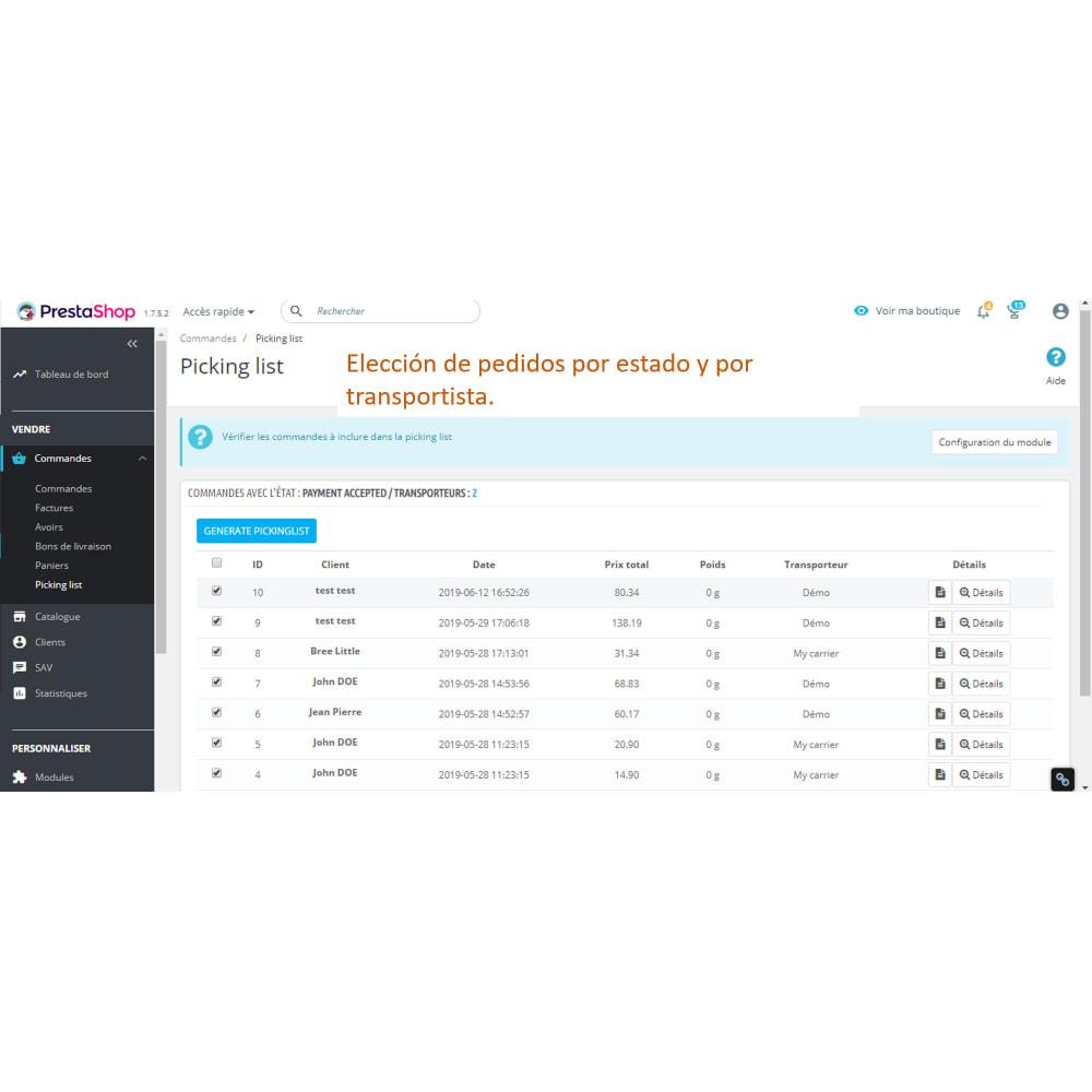 module - Preparación y Envíos - Pickinglist - lista de productos para enviar - 2