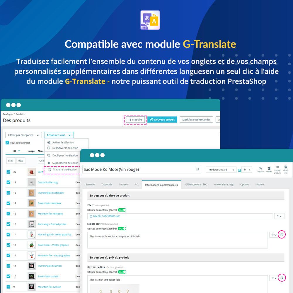 module - Information supplémentaire & Onglet produit - Onglets et champs personnalisés sur la page du produit - 7