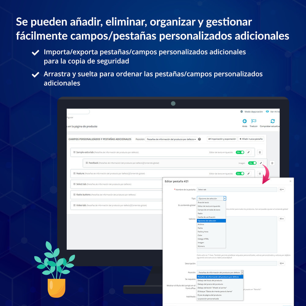 module - Informaciones adicionales y Pestañas - Campos/pestañas personalizados en la página de producto - 6