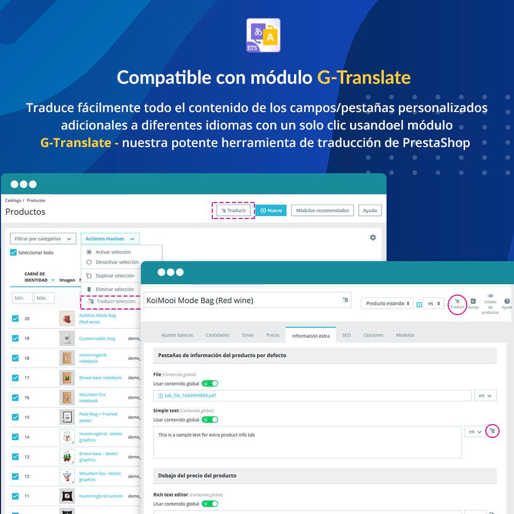 module - Informaciones adicionales y Pestañas - Campos/pestañas personalizados en la página de producto - 7