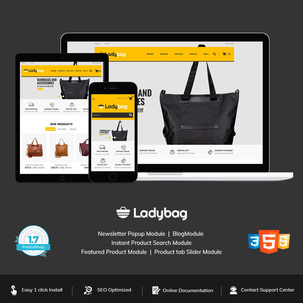 theme - Fashion & Shoes - Ladybag Bag - Watch Accessories Store - 1