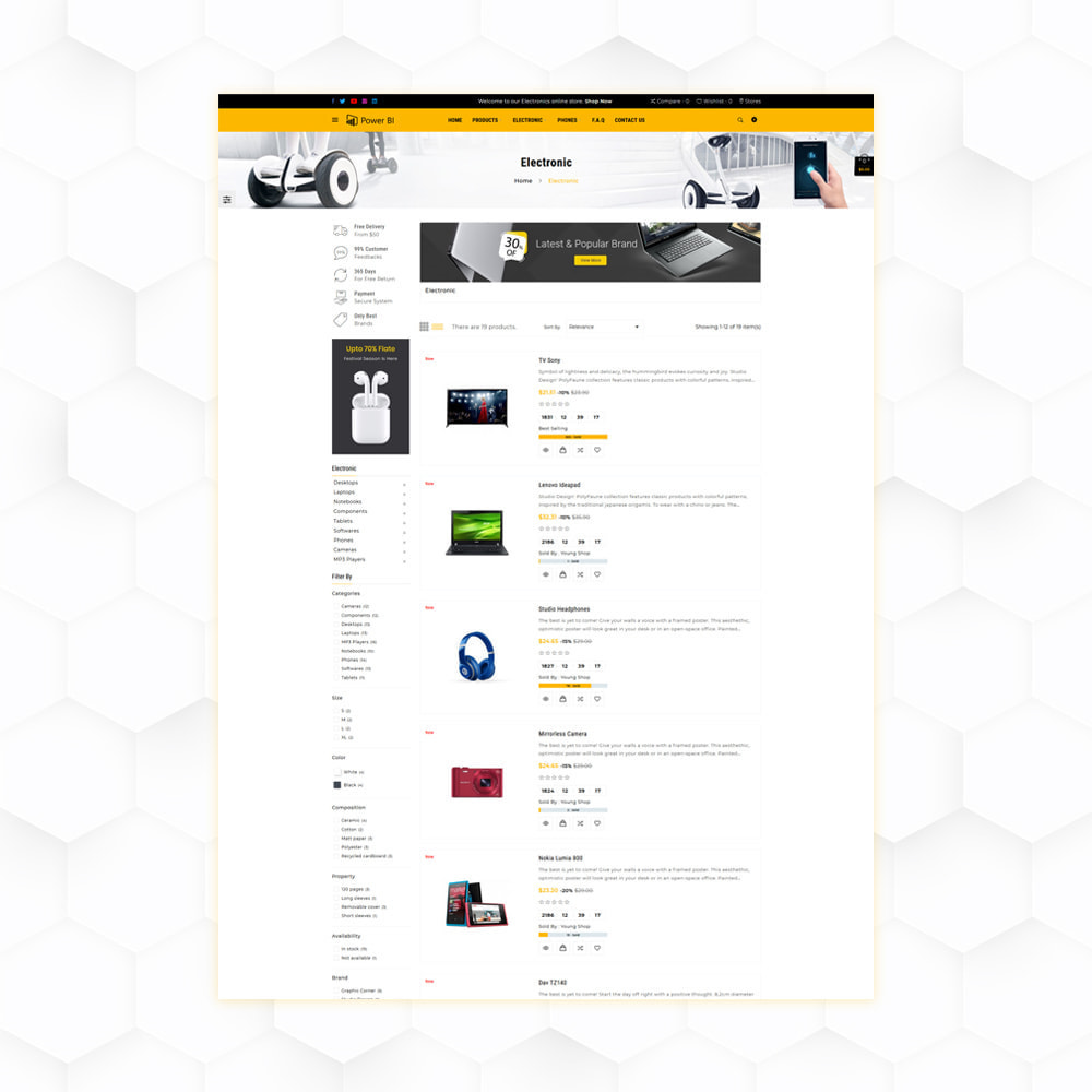 theme - Eletrônicos & High Tech - PowerBI Electronic Store - 4