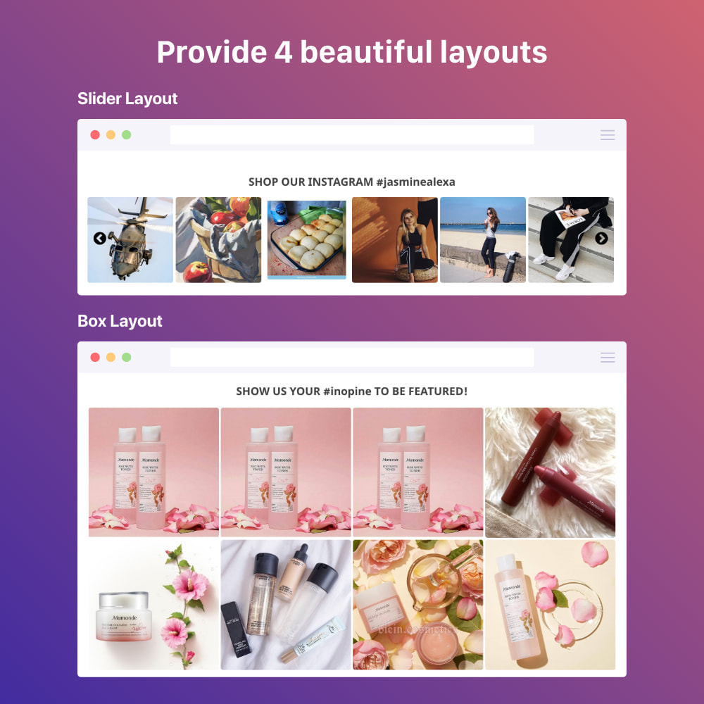 module - Sliders & Galeries - Shoppable Instagram Feed: carousel, slider, gallery - 1
