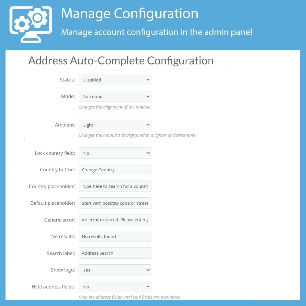 module - Registratie en Proces van bestellingen - Fetchify Address Auto-Complete - 1