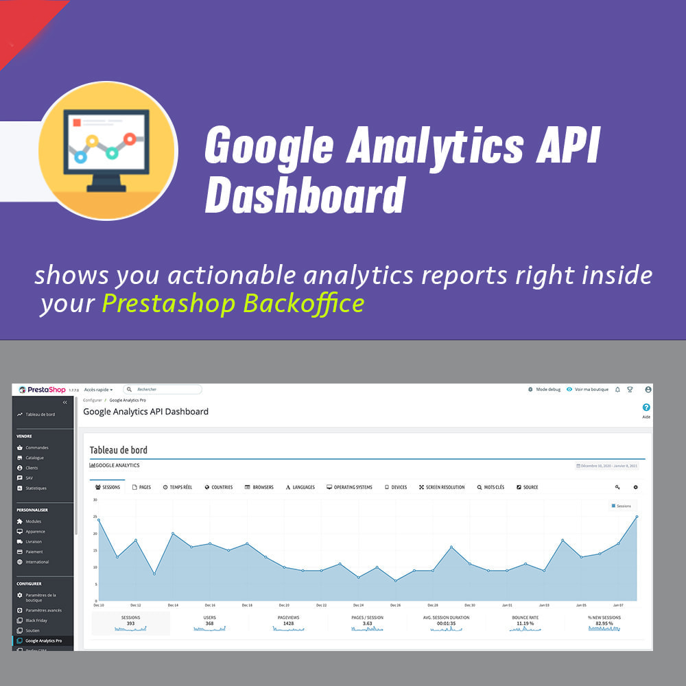 module - Analytics & Statistics - Google Analytics API Dashboard - 1