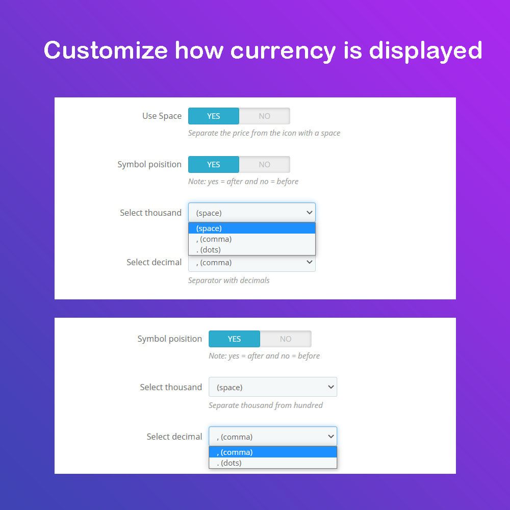 module - International & Localization - Auto Change Language, Currency - Format currency - 5