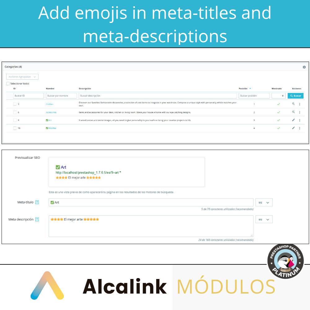 module - SEO (Pozycjonowanie naturalne) - Emojis in metas (products, categories, CMS ...) - SEO - 2