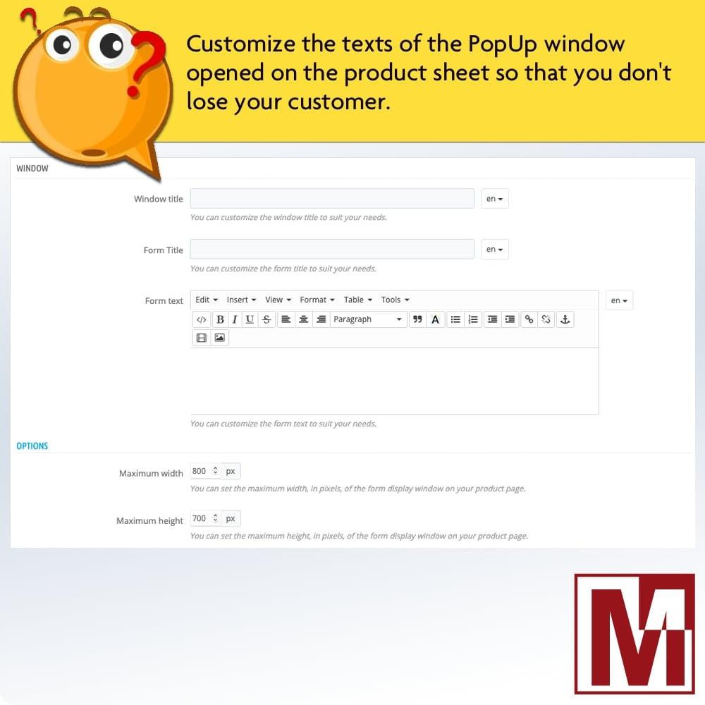 module - Formulário de contato & Pesquisas - Dynamic contact form on product page - 9