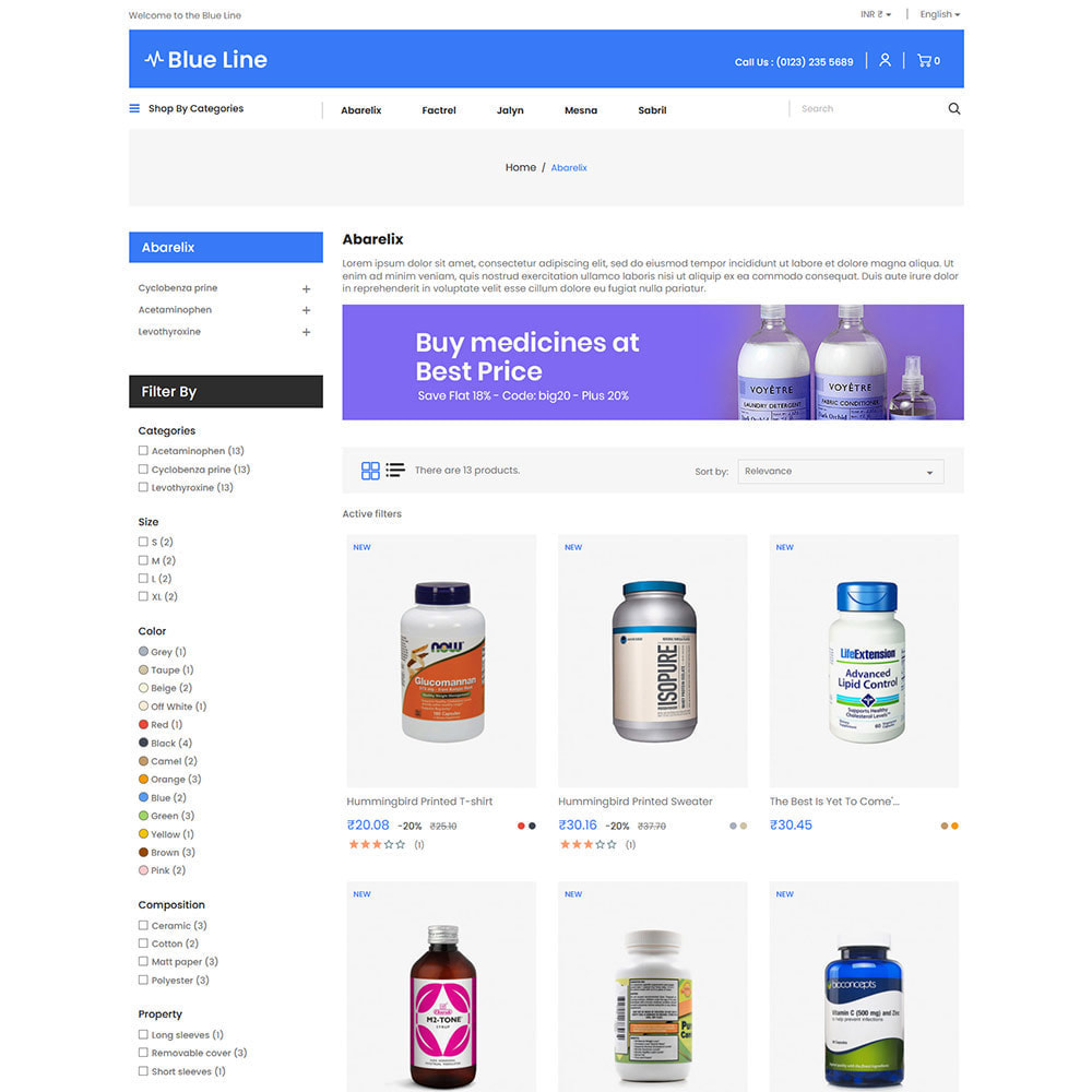 theme - Health & Beauty - Blue Line - Medical Vitamin Store - 3