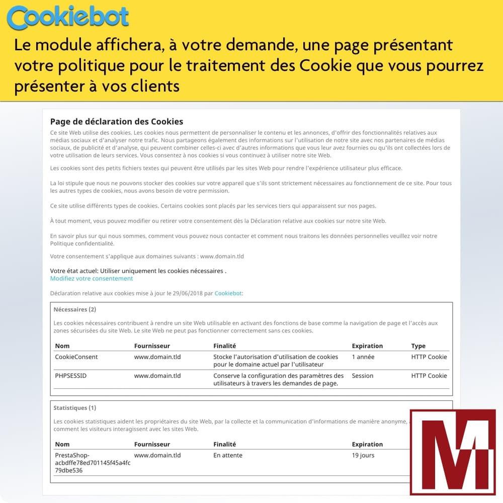 module - Législation - Cookiebot - Surveillance et contrôle des cookies - 4