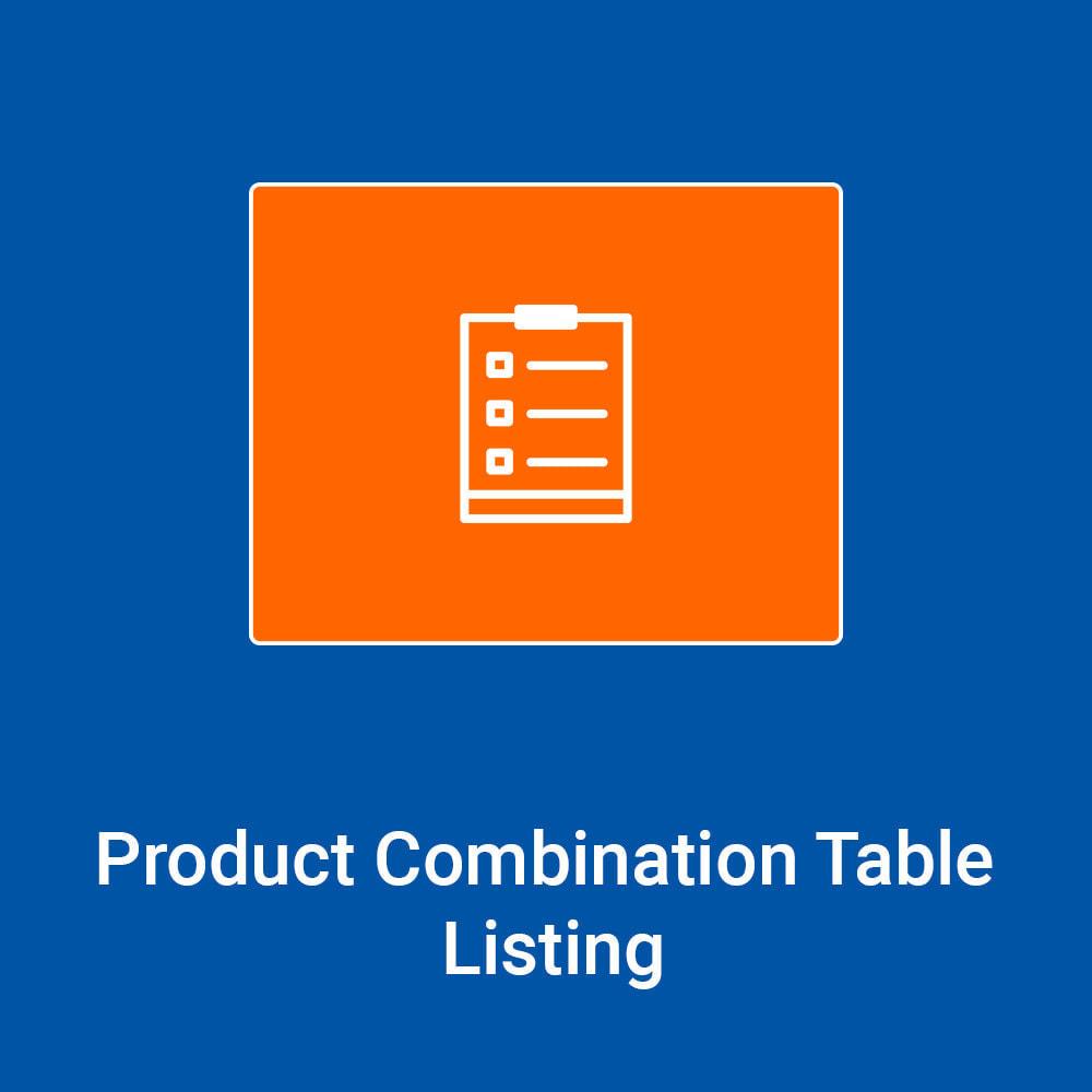 module - Combinaciones y Personalización de productos - Product Combinations Table Listing - 1