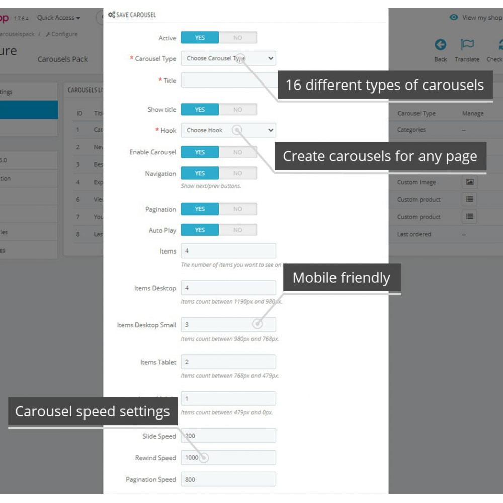 module - Слайдеров (карусельных) и галерей - Carousels Pack - Instagram, Products, Brands, Supplier - 8