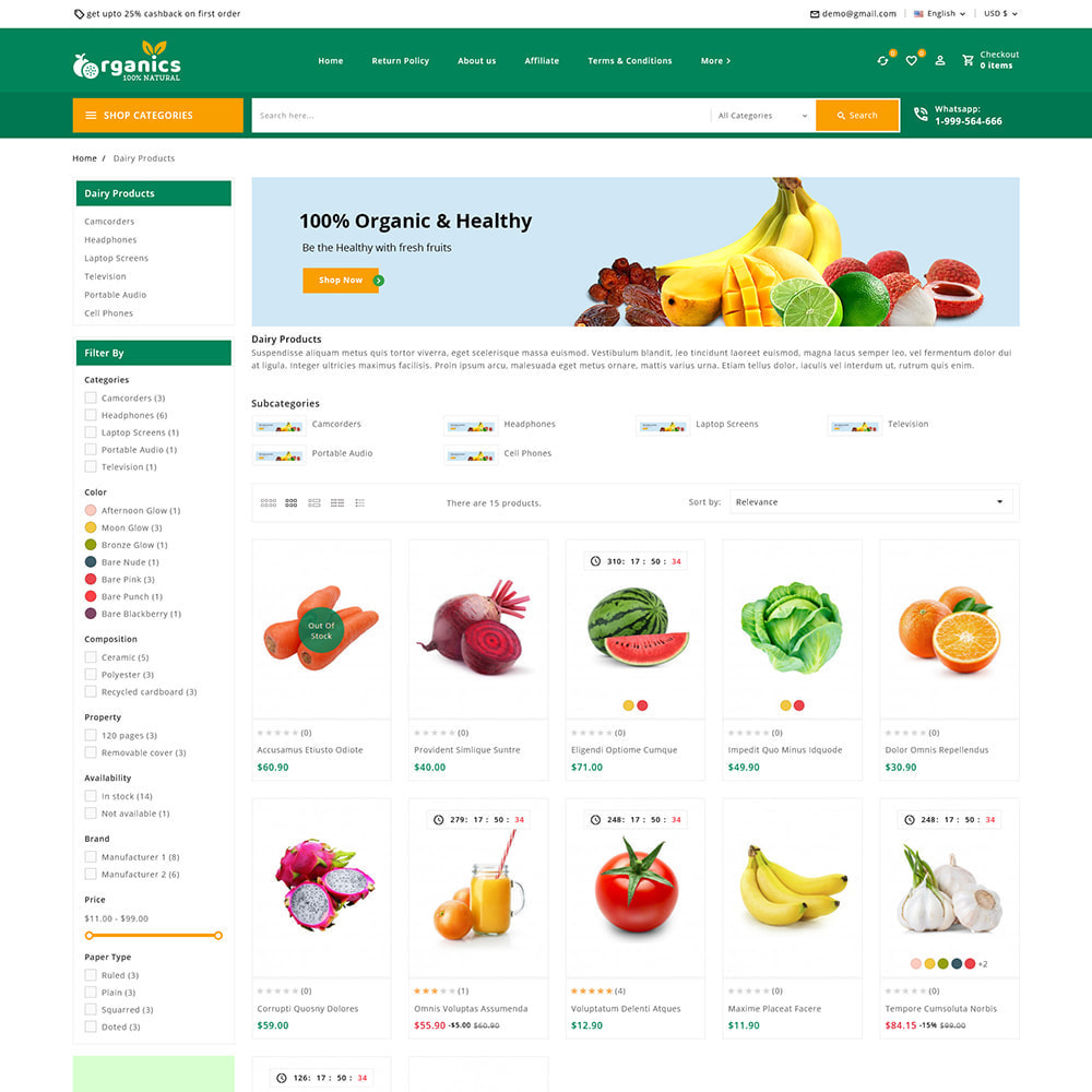 theme - Alimentation & Restauration - Organics - Fresh Food Delivery Store - 4