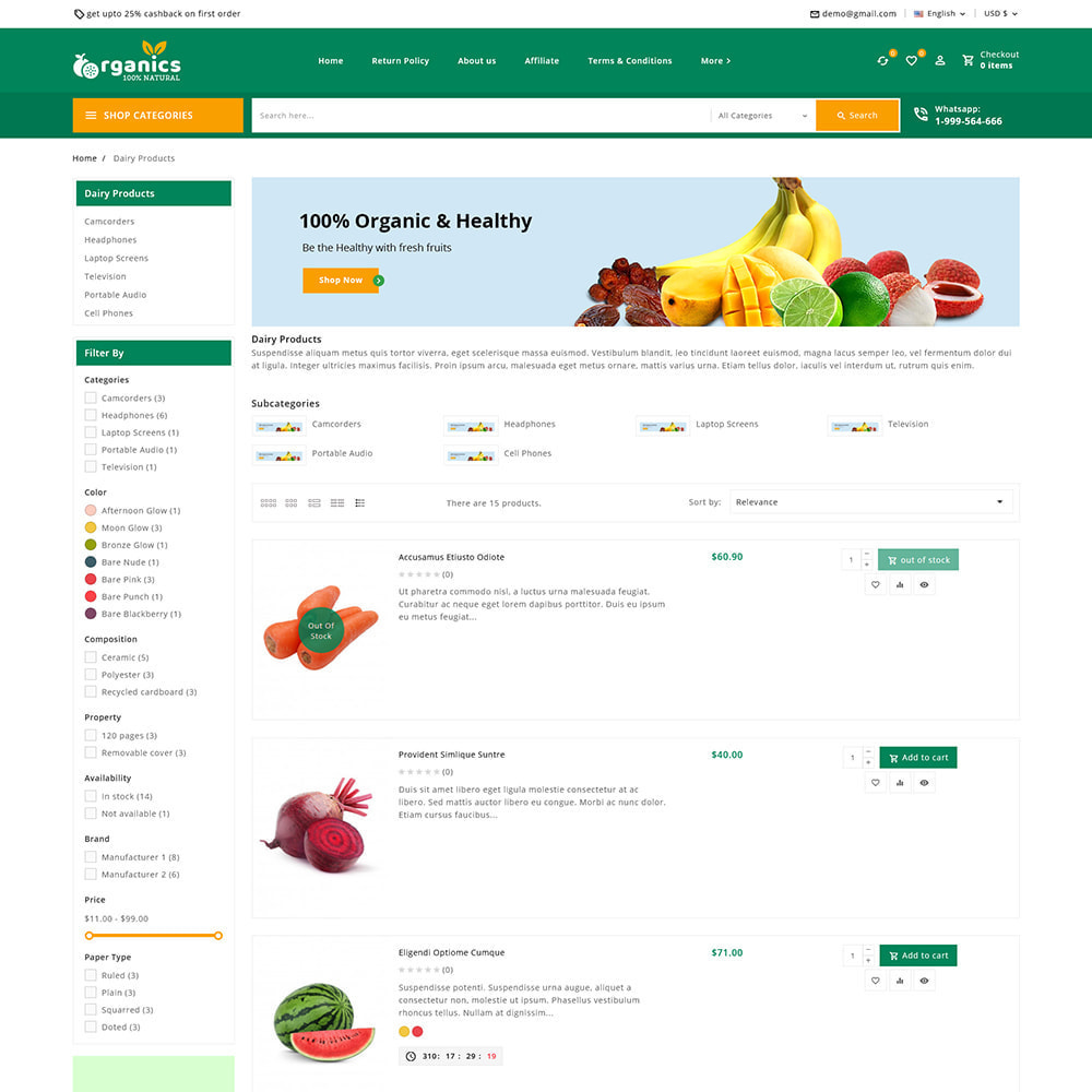 theme - Alimentation & Restauration - Organics - Fresh Food Delivery Store - 8