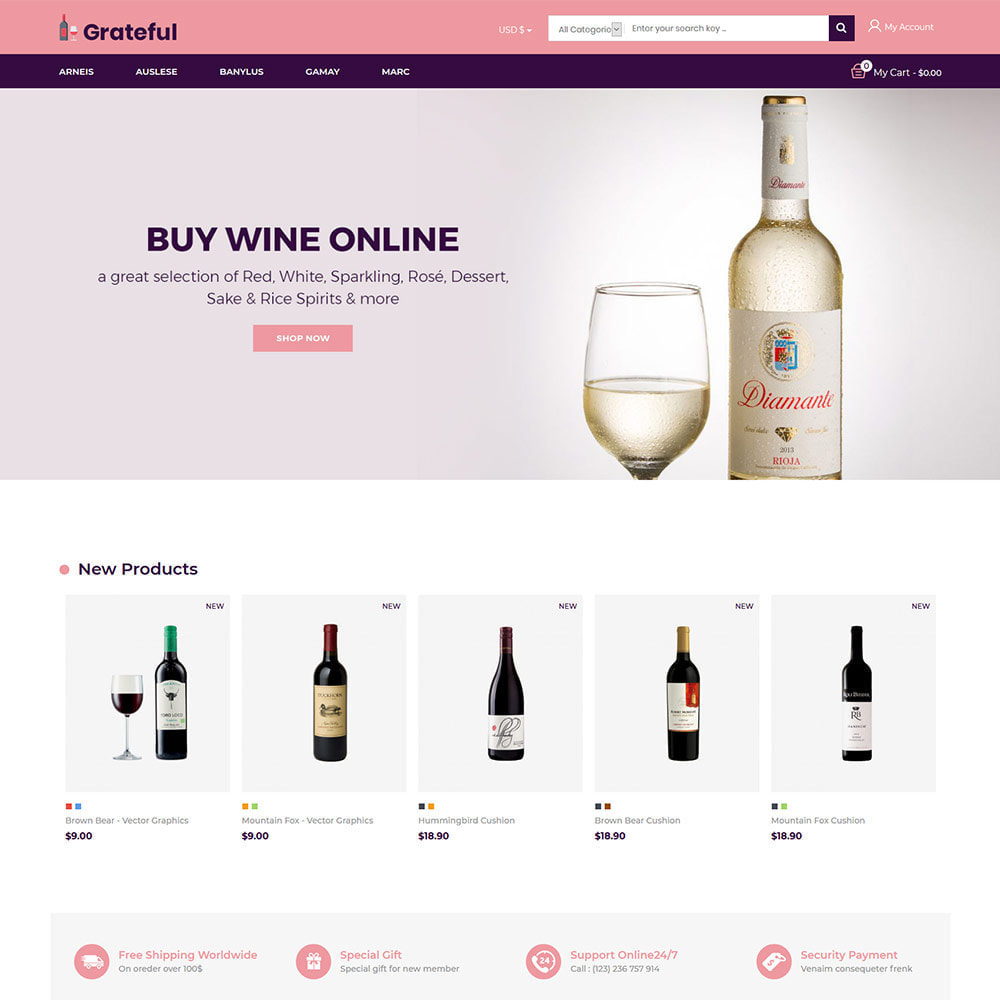 theme - Drank & Tabak - Grateful Wine - Alcohol Beer Red Wine Store - 2