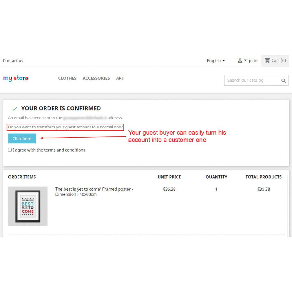 module - Управления учетными записями клиентов - Transform guest account to customer account - 3
