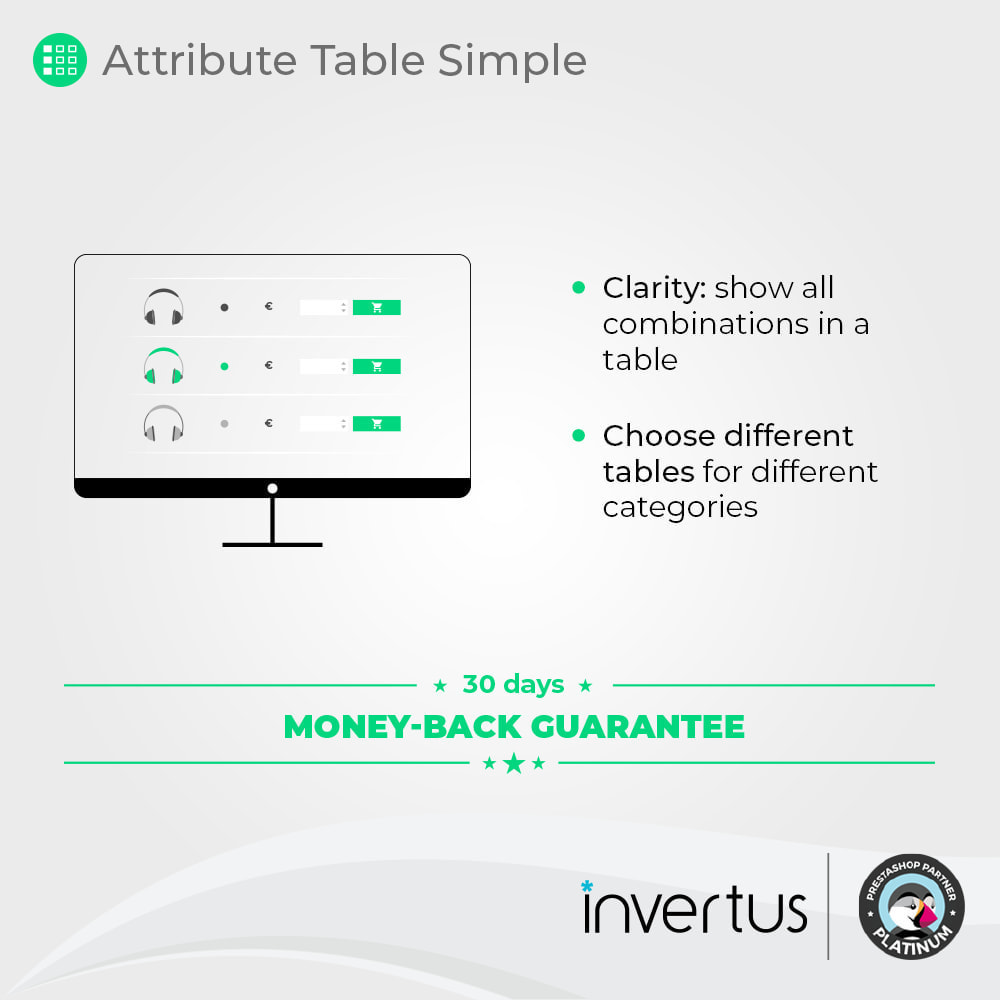 module - Combinaciones y Personalización de productos - Tabla de atributos simple: para producto - 2