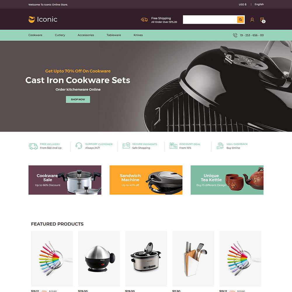 theme - Home & Garden - Iconic Cookware Kitchenware -Frying Pan Knife Store - 2