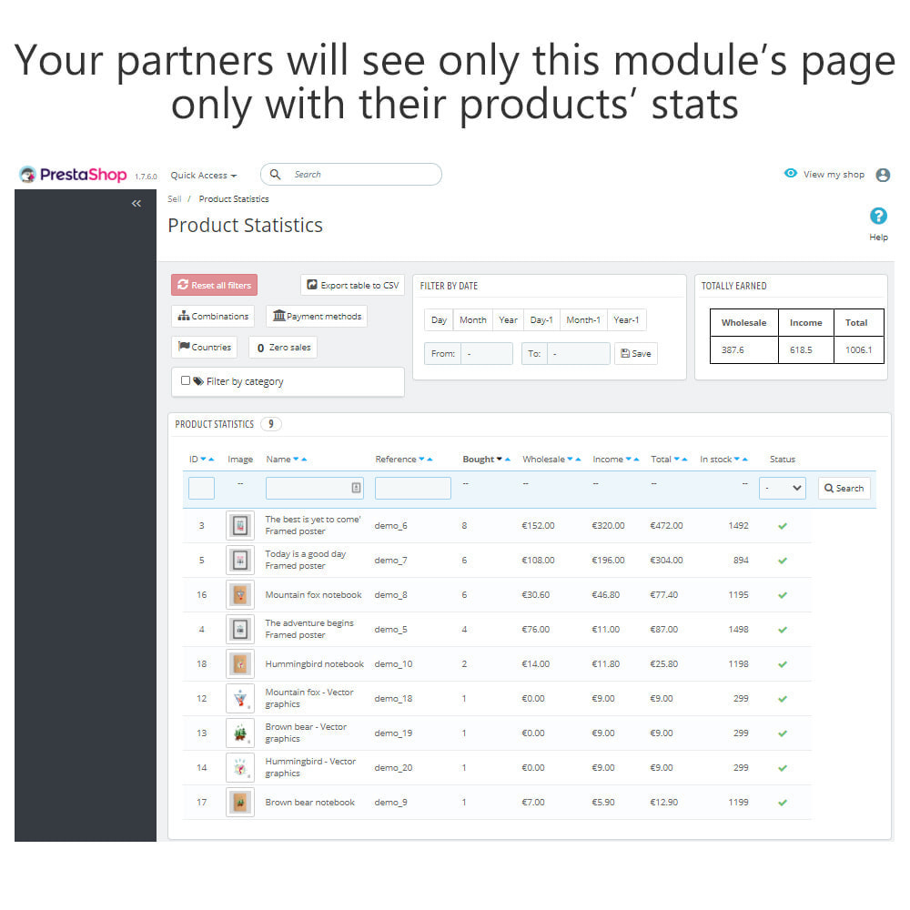 module - Analytics & Statistics - Product Sales Reports, Statistics for Your Partners - 17