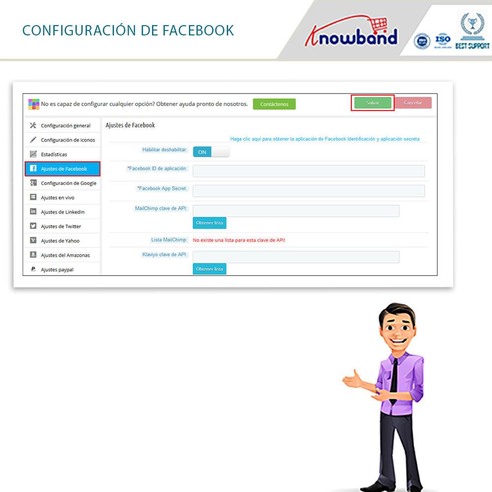 module - Botones de inicio de Sesión/Conexión - Knowband-Acceso Social 14 in 1,Estadísticas & MailChimp - 7