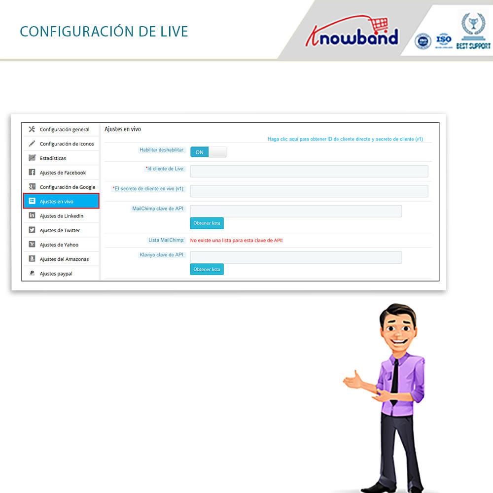 module - Botones de inicio de Sesión/Conexión - Knowband-Acceso Social 14 in 1,Estadísticas & MailChimp - 10