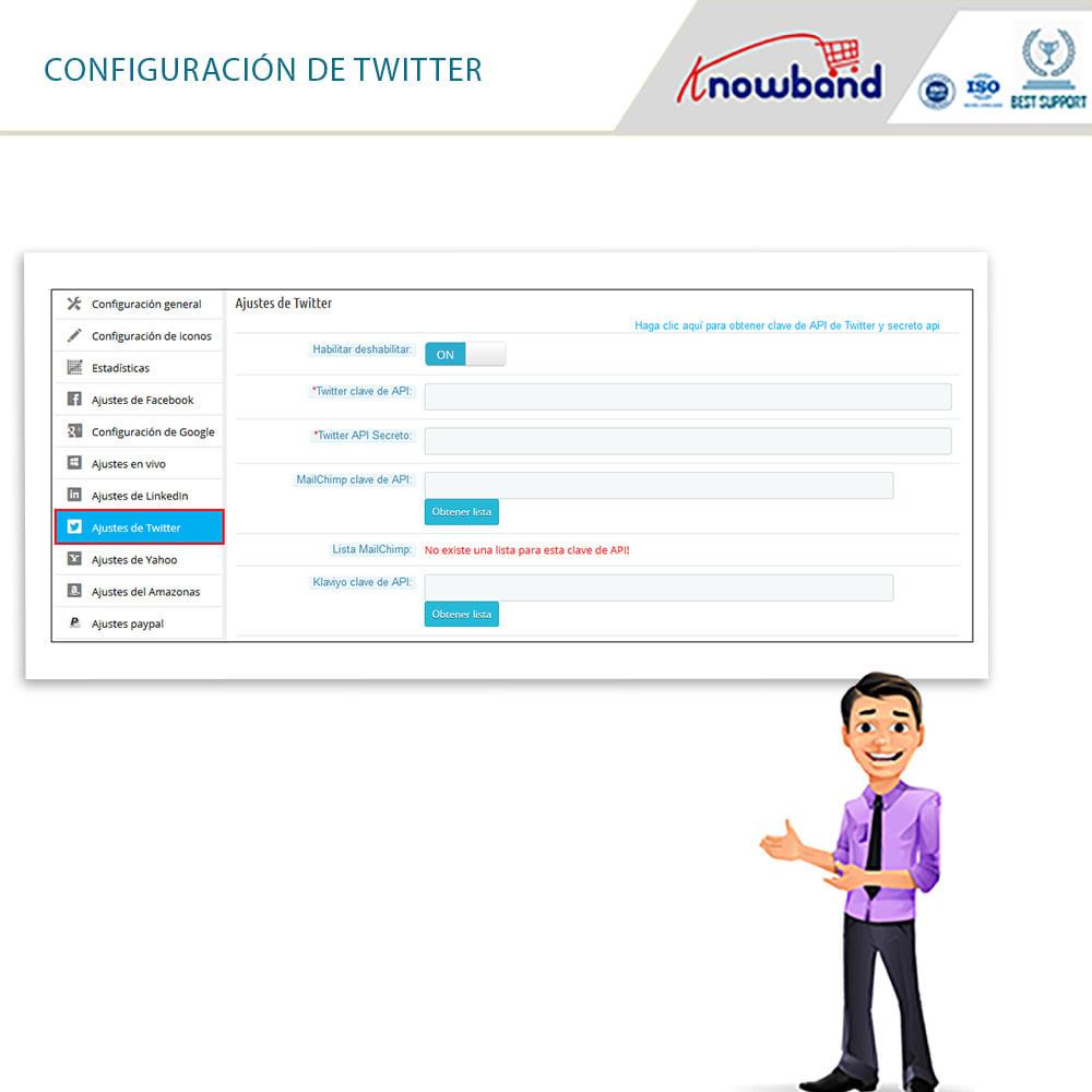 module - Botones de inicio de Sesión/Conexión - Knowband-Acceso Social 14 in 1,Estadísticas & MailChimp - 12