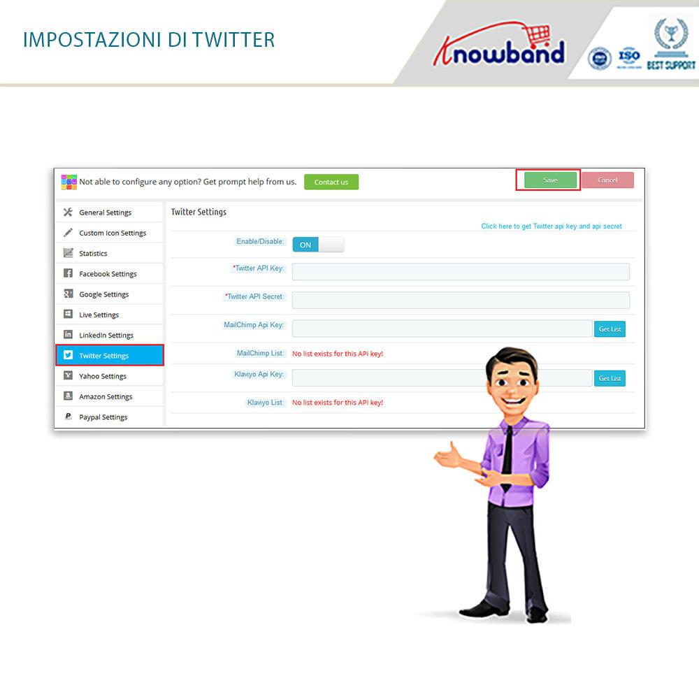 module - Login/Connessione - Knowband - Social Login 14 in 1,Statistiche & MailChimp - 9
