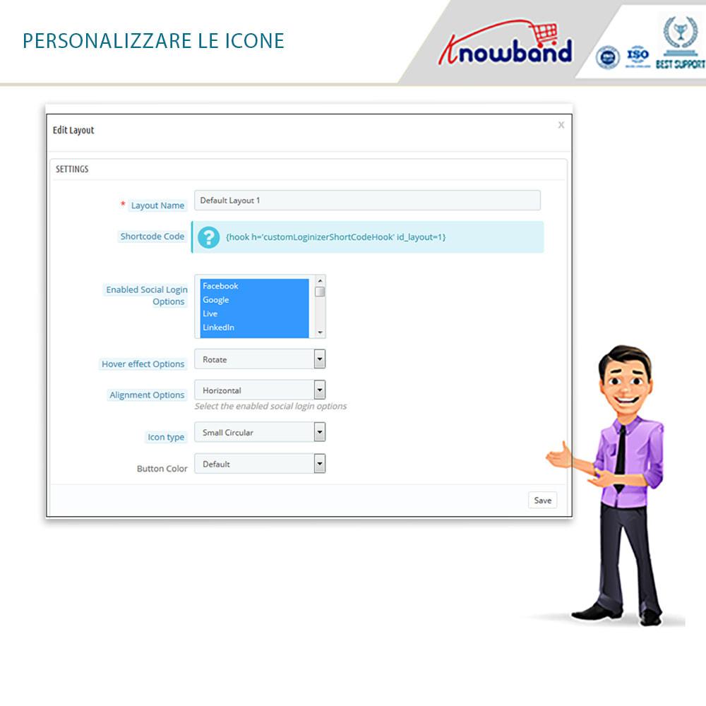 module - Login/Connessione - Knowband - Social Login 14 in 1,Statistiche & MailChimp - 16