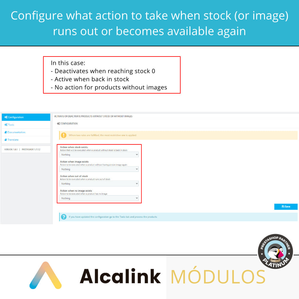 module - Stock & Supplier Management - Activate/deactivate products without stock or image - 2