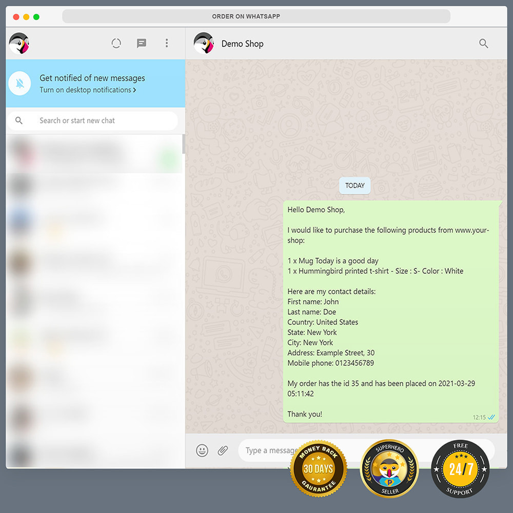 module - Wsparcie & Czat online - Integracja WhatsApp PRO - zamówienie, czat, agenci - 12
