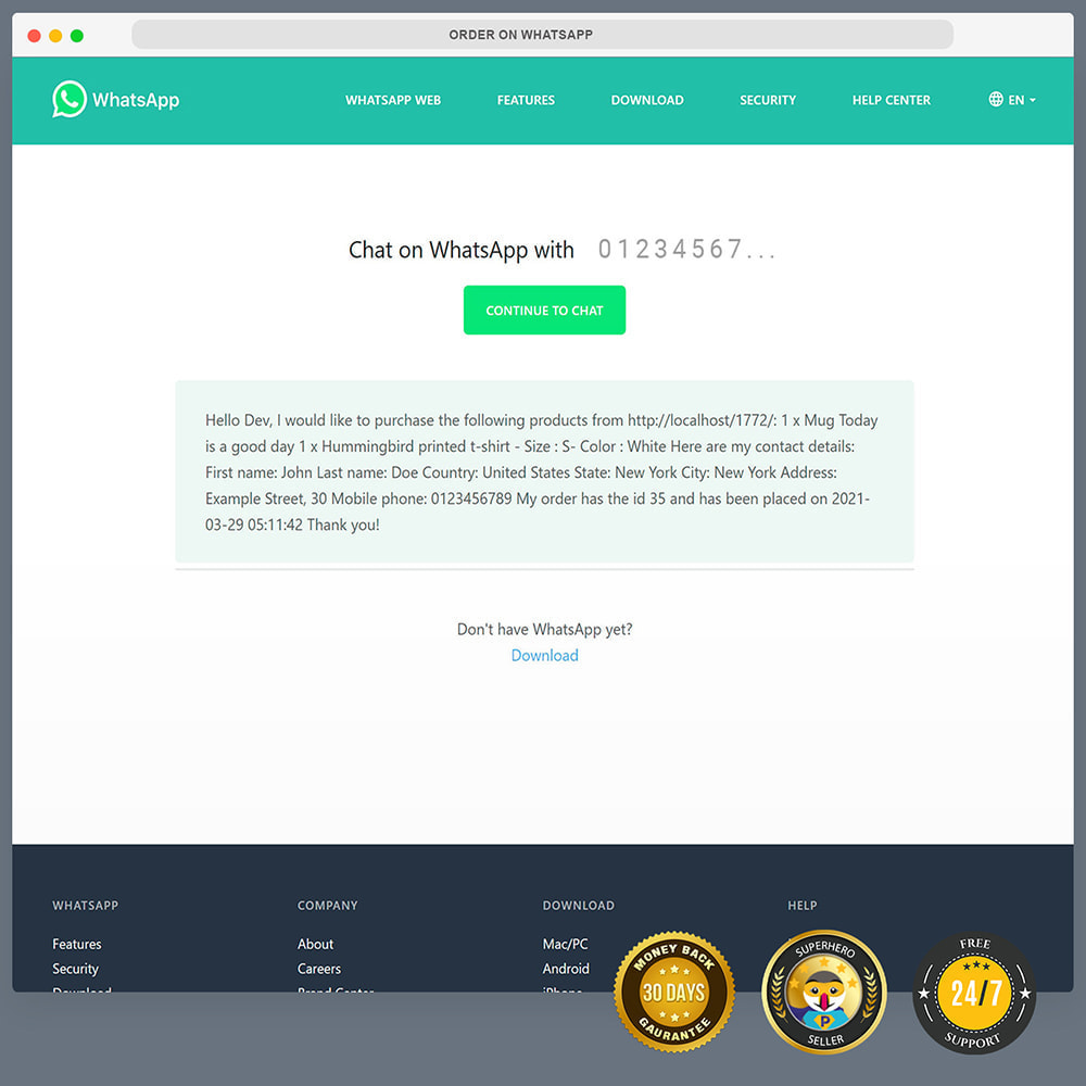 module - Suporte & Chat on-line - Encomendar no WhatsApp - 11